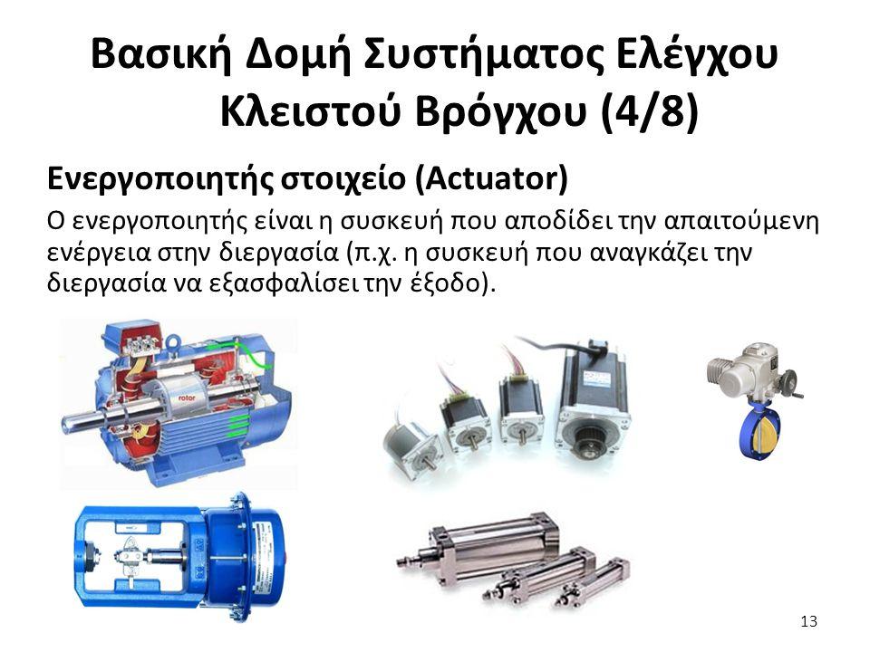 Ενεργοποιητής στοιχείο (Actuator) Ο ενεργοποιητής είναι η συσκευή που αποδίδει την απαιτούμενη ενέργεια στην διεργασία (π.χ. η συσκευή που αναγκάζει τ