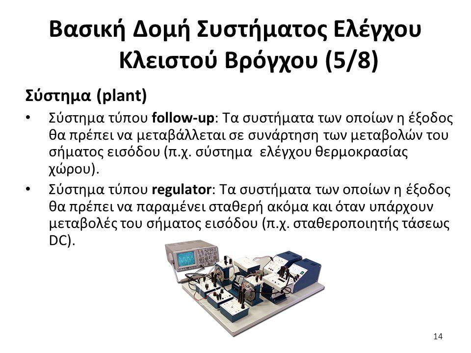Σύστημα (plant) Σύστημα τύπου follow-up: Τα συστήματα των οποίων η έξοδος θα πρέπει να μεταβάλλεται σε συνάρτηση των μεταβολών του σήματος εισόδου (π.