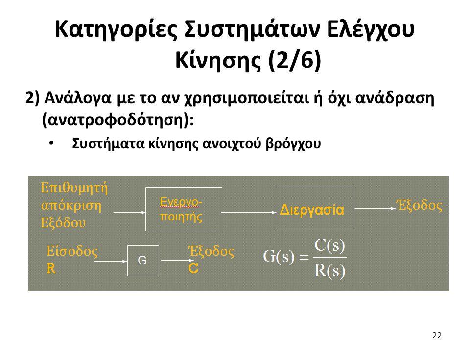 2) Ανάλογα με το αν χρησιμοποιείται ή όχι ανάδραση (ανατροφοδότηση): Συστήματα κίνησης ανοιχτού βρόγχου 22 Κατηγορίες Συστημάτων Ελέγχου Κίνησης (2/6)