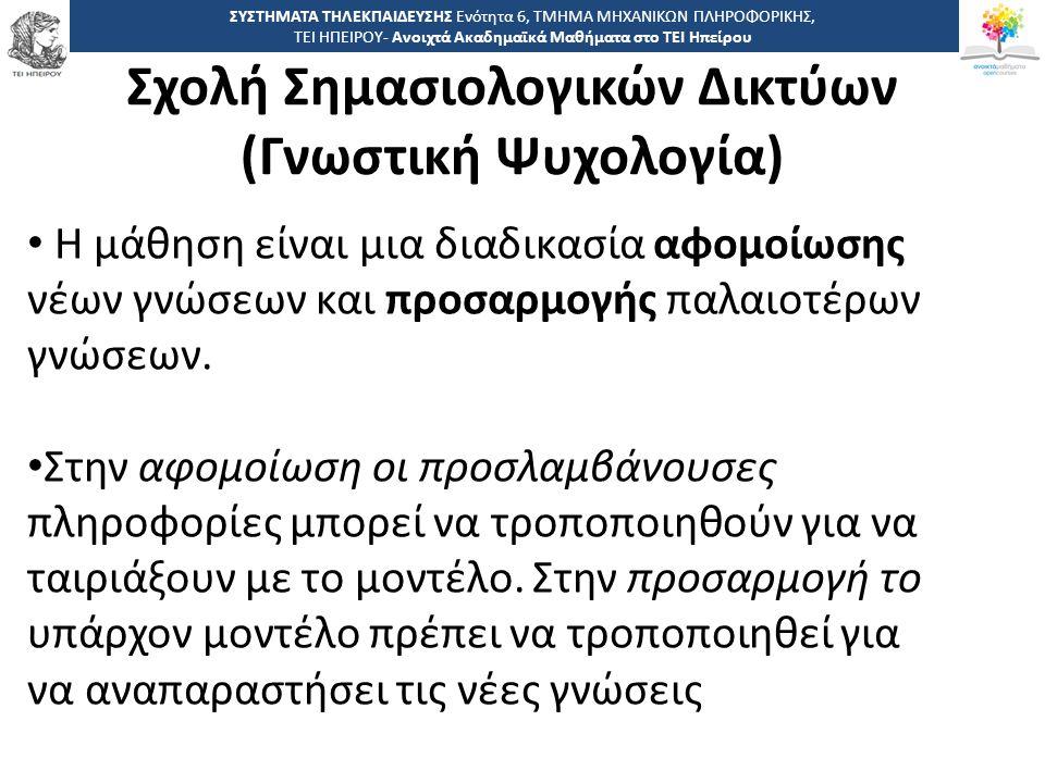 2 -,, ΤΕΙ ΗΠΕΙΡΟΥ - Ανοιχτά Ακαδημαϊκά Μαθήματα στο ΤΕΙ Ηπείρου Σχολή Σημασιολογικών Δικτύων (Γνωστική Ψυχολογία) ΣΥΣΤΗΜΑΤΑ ΤΗΛΕΚΠΑΙΔΕΥΣΗΣ Ενότητα 6, ΤΜΗΜΑ ΜΗΧΑΝΙΚΩΝ ΠΛΗΡΟΦΟΡΙΚΗΣ, ΤΕΙ ΗΠΕΙΡΟΥ- Ανοιχτά Ακαδημαϊκά Μαθήματα στο ΤΕΙ Ηπείρου Η μάθηση είναι μια διαδικασία αφομοίωσης νέων γνώσεων και προσαρμογής παλαιοτέρων γνώσεων.
