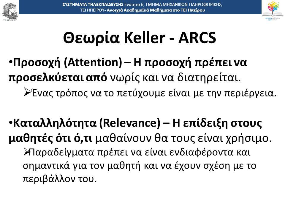 3535 -,, ΤΕΙ ΗΠΕΙΡΟΥ - Ανοιχτά Ακαδημαϊκά Μαθήματα στο ΤΕΙ Ηπείρου Θεωρία Keller - ARCS ΣΥΣΤΗΜΑΤΑ ΤΗΛΕΚΠΑΙΔΕΥΣΗΣ Ενότητα 6, ΤΜΗΜΑ ΜΗΧΑΝΙΚΩΝ ΠΛΗΡΟΦΟΡΙΚΗΣ, ΤΕΙ ΗΠΕΙΡΟΥ- Ανοιχτά Ακαδημαϊκά Μαθήματα στο ΤΕΙ Ηπείρου Προσοχή (Attention) – Η προσοχή πρέπει να προσελκύεται από νωρίς και να διατηρείται.