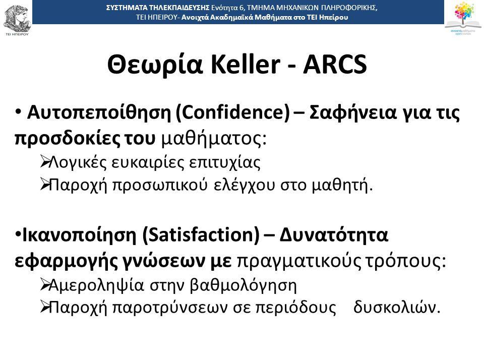 3636 -,, ΤΕΙ ΗΠΕΙΡΟΥ - Ανοιχτά Ακαδημαϊκά Μαθήματα στο ΤΕΙ Ηπείρου Θεωρία Keller - ARCS ΣΥΣΤΗΜΑΤΑ ΤΗΛΕΚΠΑΙΔΕΥΣΗΣ Ενότητα 6, ΤΜΗΜΑ ΜΗΧΑΝΙΚΩΝ ΠΛΗΡΟΦΟΡΙΚΗΣ, ΤΕΙ ΗΠΕΙΡΟΥ- Ανοιχτά Ακαδημαϊκά Μαθήματα στο ΤΕΙ Ηπείρου Αυτοπεποίθηση (Confidence) – Σαφήνεια για τις προσδοκίες του μαθήματος:  Λογικές ευκαιρίες επιτυχίας  Παροχή προσωπικού ελέγχου στο μαθητή.