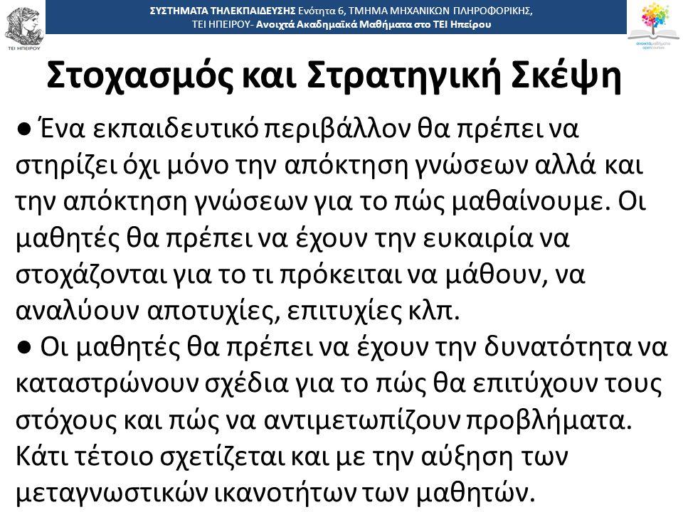 5656 -,, ΤΕΙ ΗΠΕΙΡΟΥ - Ανοιχτά Ακαδημαϊκά Μαθήματα στο ΤΕΙ Ηπείρου Στοχασμός και Στρατηγική Σκέψη ΣΥΣΤΗΜΑΤΑ ΤΗΛΕΚΠΑΙΔΕΥΣΗΣ Ενότητα 6, ΤΜΗΜΑ ΜΗΧΑΝΙΚΩΝ ΠΛΗΡΟΦΟΡΙΚΗΣ, ΤΕΙ ΗΠΕΙΡΟΥ- Ανοιχτά Ακαδημαϊκά Μαθήματα στο ΤΕΙ Ηπείρου ● Ένα εκπαιδευτικό περιβάλλον θα πρέπει να στηρίζει όχι μόνο την απόκτηση γνώσεων αλλά και την απόκτηση γνώσεων για το πώς μαθαίνουμε.