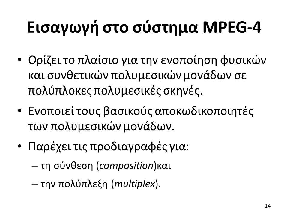 Εισαγωγή στο σύστημα MPEG-4 Ορίζει το πλαίσιο για την ενοποίηση φυσικών και συνθετικών πολυμεσικών μονάδων σε πολύπλοκες πολυμεσικές σκηνές. Ενοποιεί