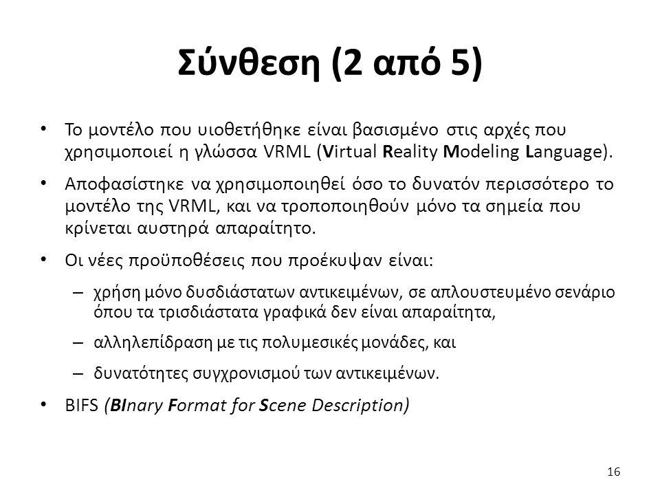 Σύνθεση (2 από 5) Το μοντέλο που υιοθετήθηκε είναι βασισμένο στις αρχές που χρησιμοποιεί η γλώσσα VRML (Virtual Reality Modeling Language). Αποφασίστη