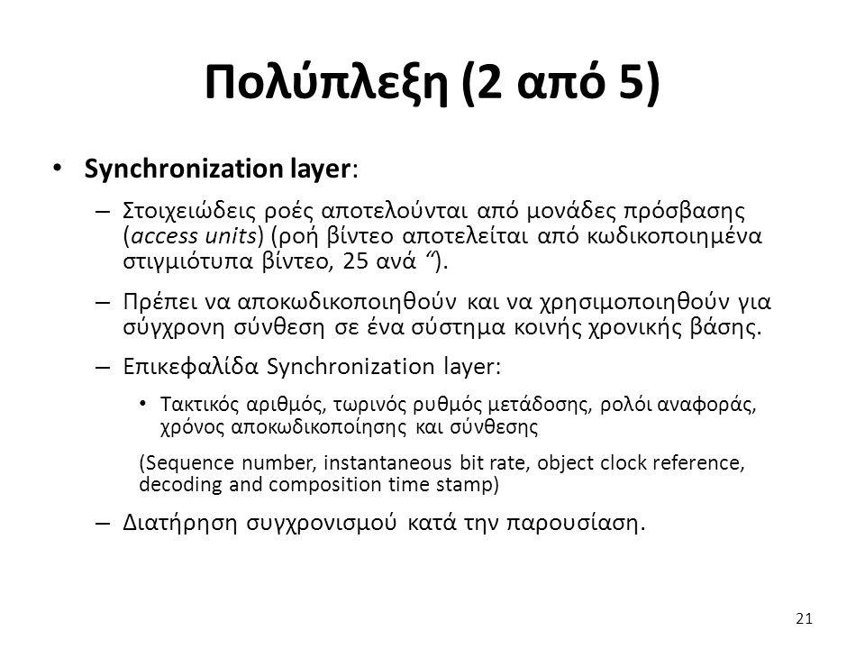 Πολύπλεξη (2 από 5) Synchronization layer: – Στοιχειώδεις ροές αποτελούνται από μονάδες πρόσβασης (access units) (ροή βίντεο αποτελείται από κωδικοποι