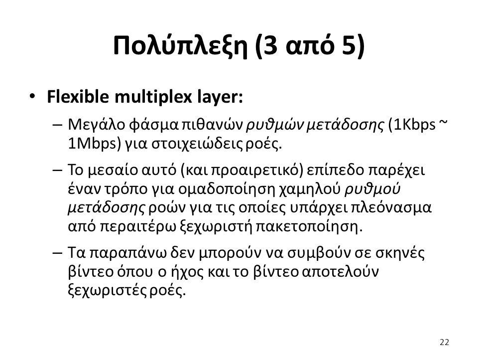 Πολύπλεξη (3 από 5) Flexible multiplex layer: – Μεγάλο φάσμα πιθανών ρυθμών μετάδοσης (1Kbps ~ 1Mbps) για στοιχειώδεις ροές. – Το μεσαίο αυτό (και προ
