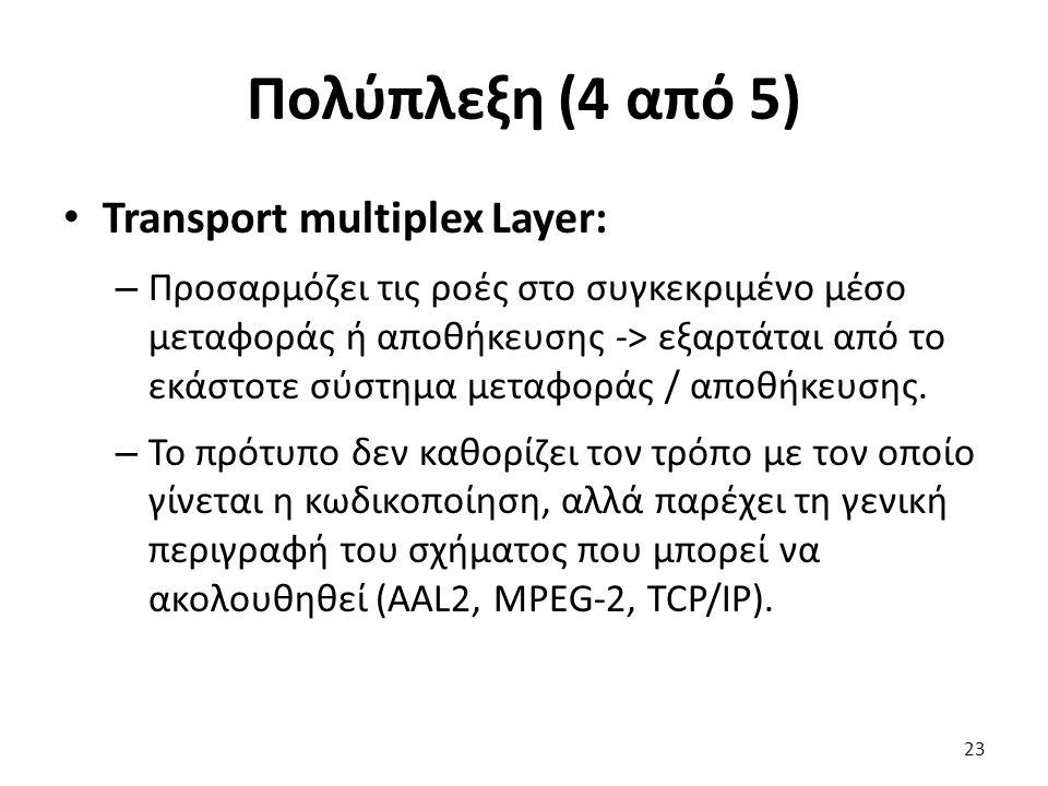 Πολύπλεξη (4 από 5) Transport multiplex Layer: – Προσαρμόζει τις ροές στο συγκεκριμένο μέσο μεταφοράς ή αποθήκευσης -> εξαρτάται από το εκάστοτε σύστη