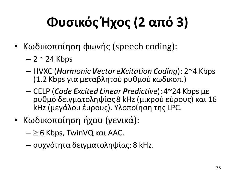 Φυσικός Ήχος (2 από 3) Κωδικοποίηση φωνής (speech coding): – 2 ~ 24 Kbps – HVXC (Harmonic Vector eXcitation Coding): 2~4 Kbps (1.2 Kbps για μεταβλητού