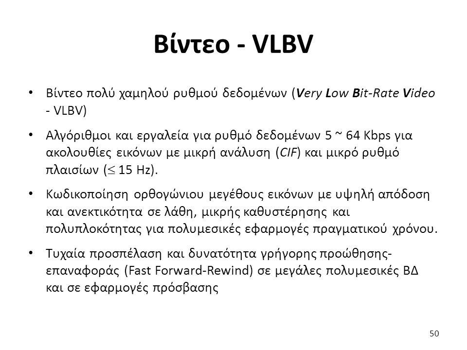 Βίντεο - VLBV Βίντεο πολύ χαμηλού ρυθμού δεδομένων (Very Low Bit-Rate Video - VLBV) Αλγόριθμοι και εργαλεία για ρυθμό δεδομένων 5 ~ 64 Kbps για ακολου