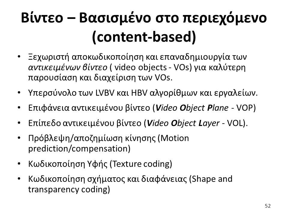 Βίντεο – Βασισμένο στο περιεχόμενο (content-based) Ξεχωριστή αποκωδικοποίηση και επαναδημιουργία των αντικειμένων βίντεο ( video objects - VOs) για κα