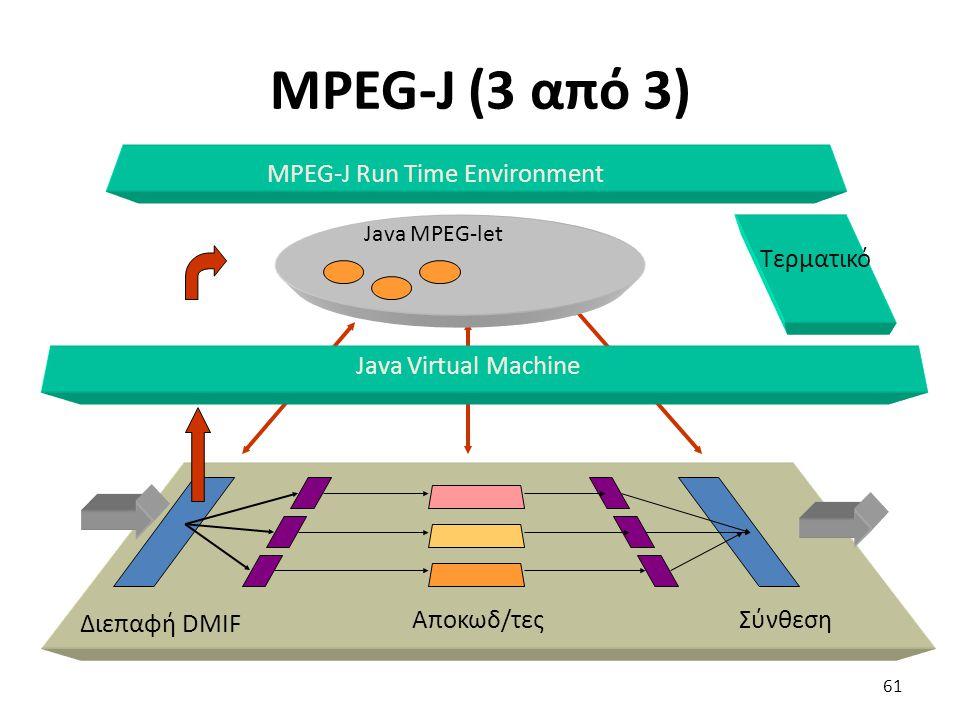 MPEG-J (3 από 3) Διεπαφή DMIF Αποκωδ/τες Σύνθεση Java Virtual Machine MPEG-J Run Time Environment Τερματικό Java MPEG-let 61