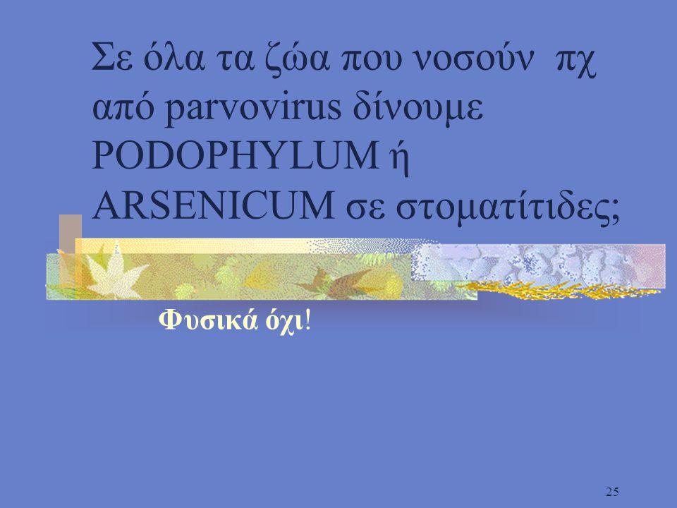 25 Σε όλα τα ζώα που νοσούν πχ από parvovirus δίνουμε PODOPHYLUM ή ARSENICUM σε στοματίτιδες; Φυσικά όχι!