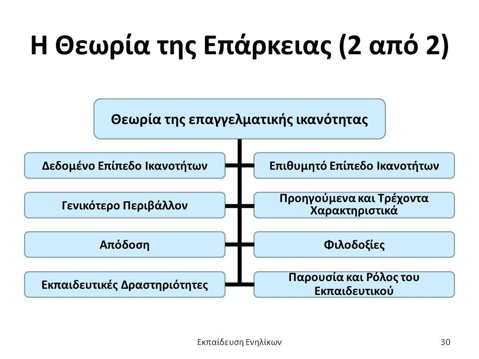 Η Θεωρία της Επάρκειας (2 από 2) Εκπαίδευση Ενηλίκων30