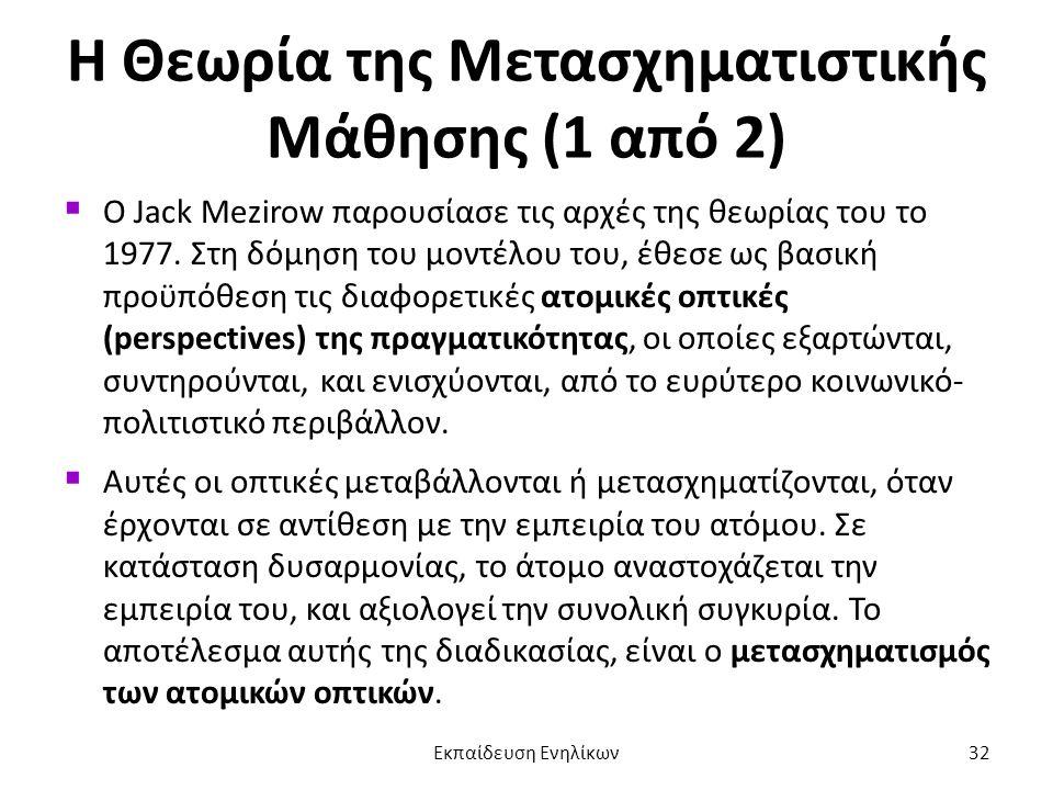 Η Θεωρία της Μετασχηματιστικής Μάθησης (1 από 2)  Ο Jack Mezirow παρουσίασε τις αρχές της θεωρίας του το 1977. Στη δόμηση του μοντέλου του, έθεσε ως