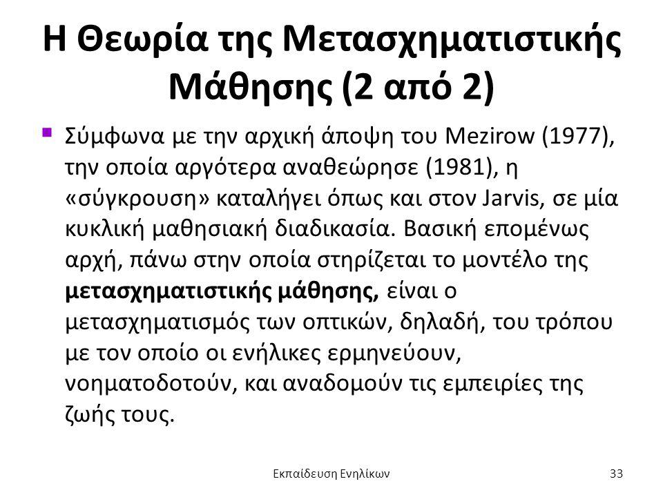 Η Θεωρία της Μετασχηματιστικής Μάθησης (2 από 2)  Σύμφωνα με την αρχική άποψη του Mezirow (1977), την οποία αργότερα αναθεώρησε (1981), η «σύγκρουση»