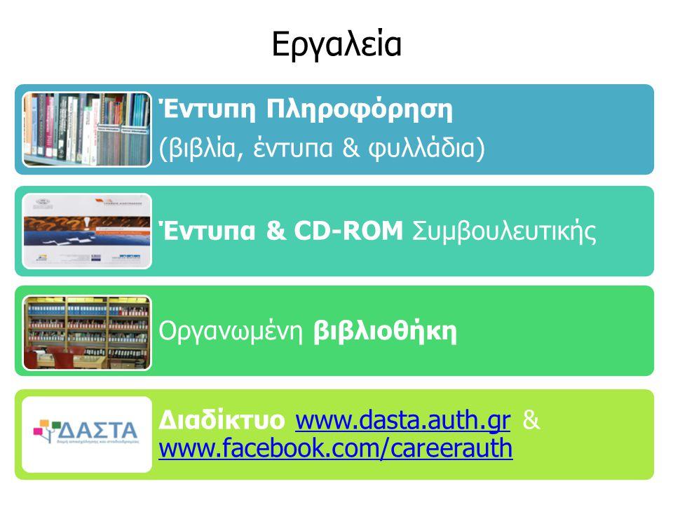 Εργαλεία Έντυπη Πληροφόρηση (βιβλία, έντυπα & φυλλάδια) Έντυπα & CD-ROM Συμβουλευτικής Οργανωμένη βιβλιοθήκη Διαδίκτυο www.dasta.auth.gr & www.facebook.com/careerauthwww.dasta.auth.gr www.facebook.com/careerauth