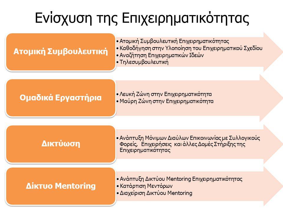 Ατομική Συμβουλευτική Επιχειρηματικότητας Καθοδήγηση στην Υλοποίηση του Επιχειρηματικού Σχεδίου Αναζήτηση Επιχειρηματικών Ιδεών Τηλεσυμβουλευτική Ατομική Συμβουλευτική Λευκή Ζώνη στην Επιχειρηματικότητα Μαύρη Ζώνη στην Επιχειρηματικότητα Ομαδικά Εργαστήρια Ανάπτυξη Μόνιμων Διαύλων Επικοινωνίας με Συλλογικούς Φορείς, Επιχειρήσεις και άλλες Δομές Στήριξης της Επιχειρηματικότητας Δικτύωση Ανάπτυξη Δικτύου Mentoring Επιχειρηματικότητας Κατάρτιση Μεντόρων Διαχείριση Δικτύου Mentoring Δίκτυο Mentoring Ενίσχυση της Επιχειρηματικότητας