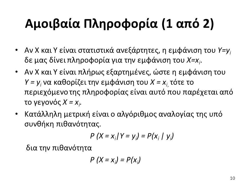 Αμοιβαία Πληροφορία (1 από 2) Αν Χ και Υ είναι στατιστικά ανεξάρτητες, η εμφάνιση του Υ=y i δε μας δίνει πληροφορία για την εμφάνιση του Χ=x i. Αν Χ κ
