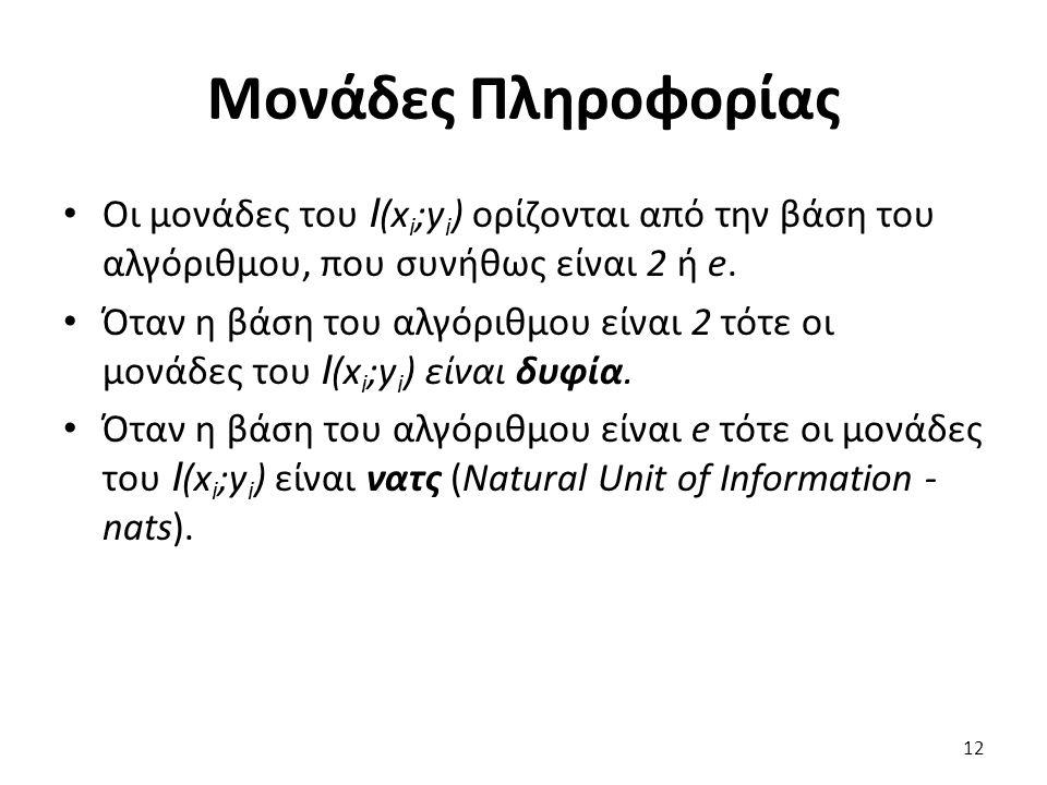 Μονάδες Πληροφορίας Οι μονάδες του I (x i ;y i ) ορίζονται από την βάση του αλγόριθμου, που συνήθως είναι 2 ή e.