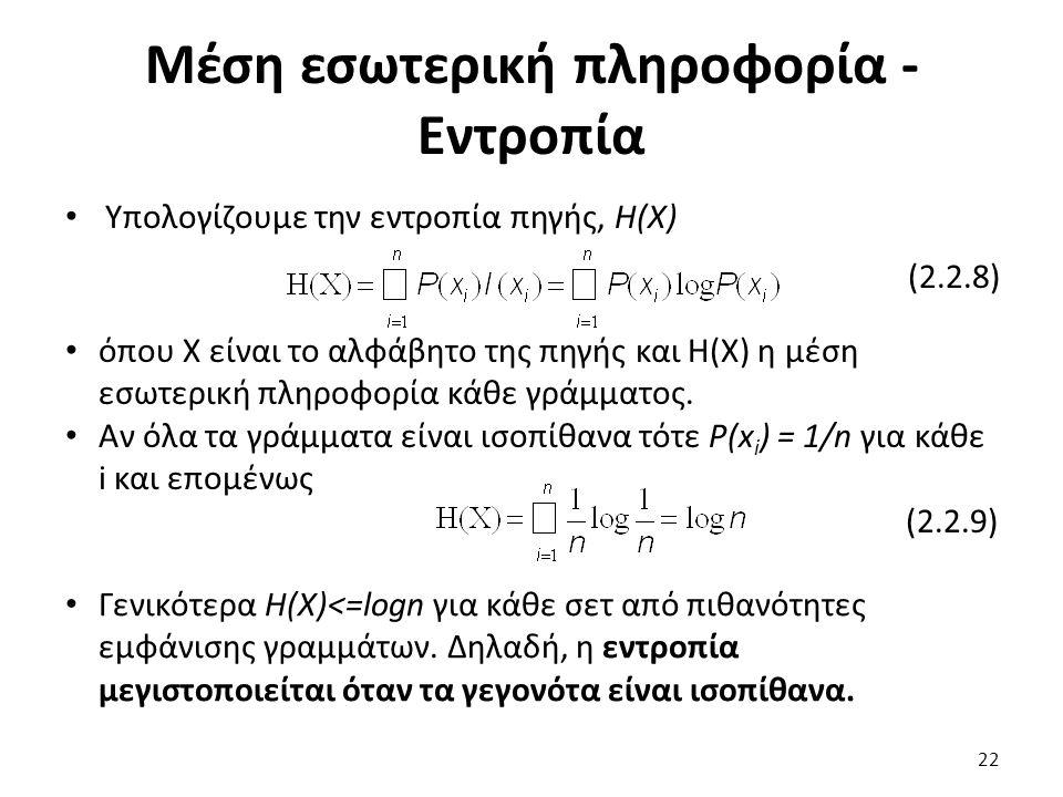 Μέση εσωτερική πληροφορία - Εντροπία Υπολογίζουμε την εντροπία πηγής, Η(Χ) (2.2.8) όπου Χ είναι το αλφάβητο της πηγής και Η(Χ) η μέση εσωτερική πληροφ