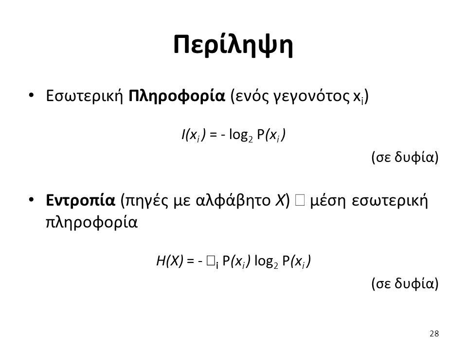 Περίληψη Εσωτερική Πληροφορία (ενός γεγονότος x i ) I(x i ) = - log 2 P(x i ) (σε δυφία) Εντροπία (πηγές με αλφάβητο Χ)  μέση εσωτερική πληροφορία H(