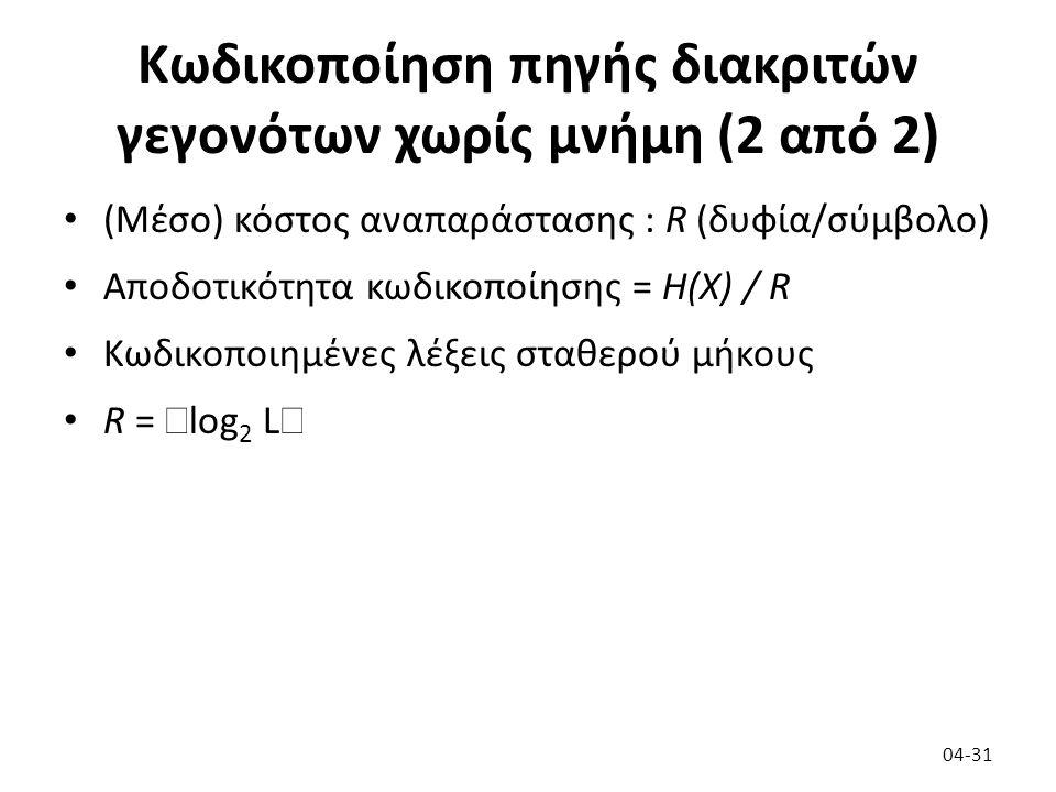 Κωδικοποίηση πηγής διακριτών γεγονότων χωρίς μνήμη (2 από 2) (Μέσο) κόστος αναπαράστασης : R (δυφία/σύμβολο) Αποδοτικότητα κωδικοποίησης = H(X) / R Κωδικοποιημένες λέξεις σταθερού μήκους R =  log 2 L  04-31