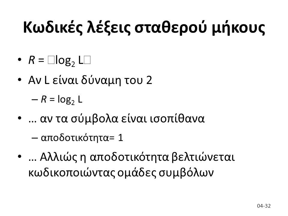 Κωδικές λέξεις σταθερού μήκους R =  log 2 L  Αν L είναι δύναμη του 2 – R = log 2 L … αν τα σύμβολα είναι ισοπίθανα – αποδοτικότητα= 1 … Αλλιώς η απο