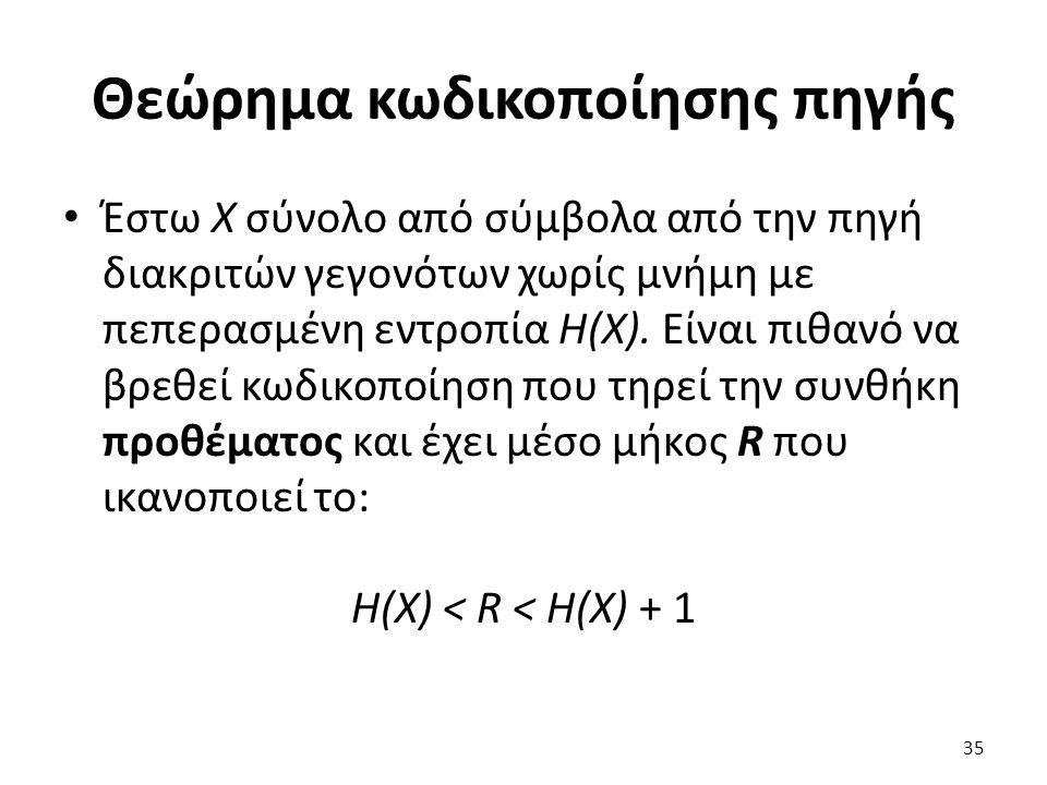 Θεώρημα κωδικοποίησης πηγής Έστω X σύνολο από σύμβολα από την πηγή διακριτών γεγονότων χωρίς μνήμη με πεπερασμένη εντροπία H(X).