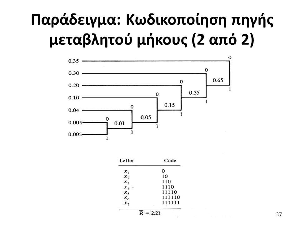 Παράδειγμα: Κωδικοποίηση πηγής μεταβλητού μήκους (2 από 2) 37
