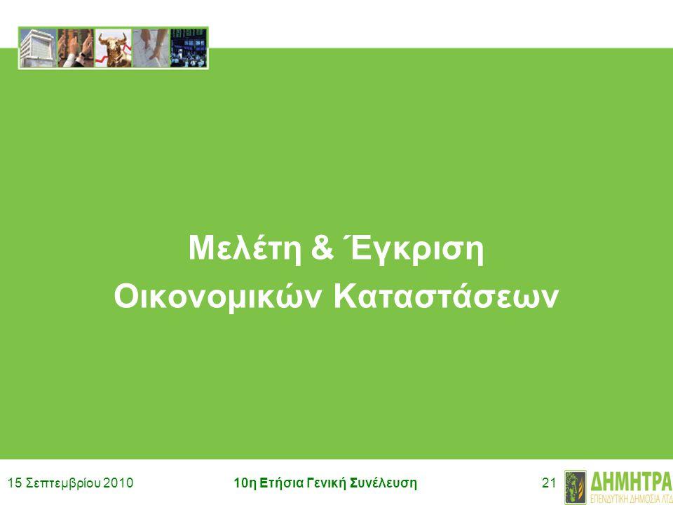 15 Σεπτεμβρίου 201010η Ετήσια Γενική Συνέλευση21 Μελέτη & Έγκριση Οικονομικών Καταστάσεων