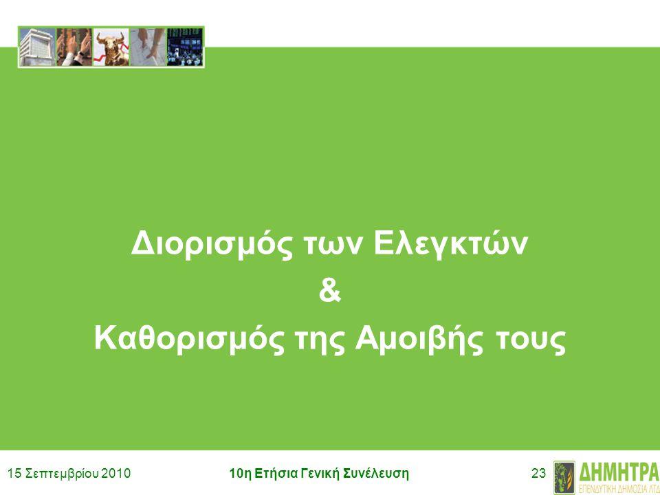 15 Σεπτεμβρίου 201010η Ετήσια Γενική Συνέλευση23 Διορισμός των Ελεγκτών & Καθορισμός της Αμοιβής τους