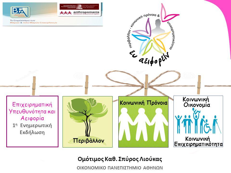 «Ευ Αειφορείν»: Γιατί; The business case : έχει οφέλη, δημιουργεί αξία για τις επιχειρήσεις Εξοικονόμηση πόρων Επιχειρηματικές ιδέες, καινοτομία Φήμη και κοινωνική υπόληψη Αφοσίωση πελατών και εργαζομένων Δυνατότητες χρηματοδότησης και συνεργασιών Σχέσεις εμπιστοσύνης μεταξύ συμμετόχων The social case : Οι επιχειρήσεις έχουν ευθύνη για τον αντίκτυπό τους στην κοινωνία