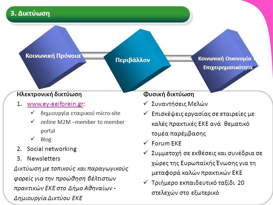 Ηλεκτρονική δικτύωση 1.www.ey-aeiforein.gr:www.ey-aeiforein.gr δημιουργία εταιρικού micro-site online M2M –member to member portal Blog 2.Social netwo