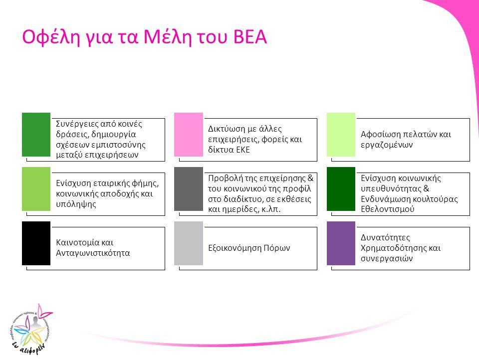 Οφέλη για τα Μέλη του ΒΕΑ Συνέργειες από κοινές δράσεις, δημιουργία σχέσεων εμπιστοσύνης μεταξύ επιχειρήσεων Δικτύωση με άλλες επιχειρήσεις, φορείς κα