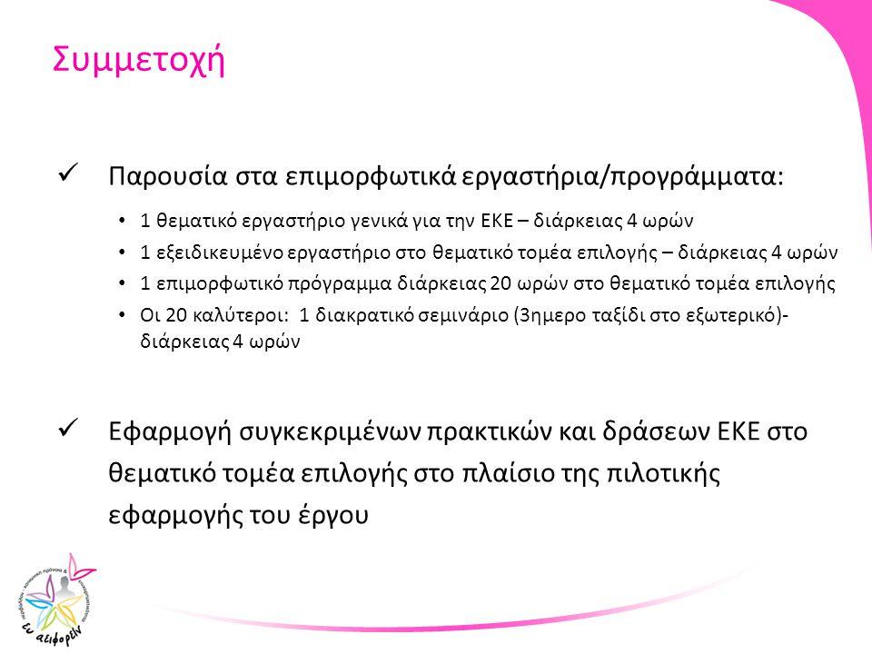 Συμμετοχή Παρουσία στα επιμορφωτικά εργαστήρια/προγράμματα: 1 θεματικό εργαστήριο γενικά για την ΕΚΕ – διάρκειας 4 ωρών 1 εξειδικευμένο εργαστήριο στο