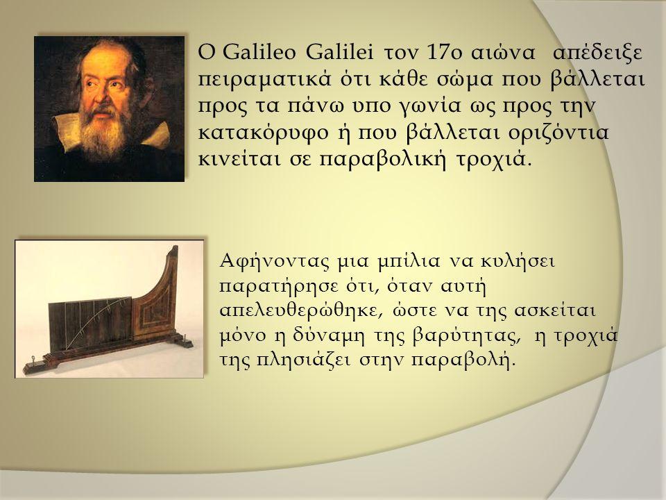 O Galileo Galilei τον 17ο αιώνα απέδειξε πειραματικά ότι κάθε σώμα που βάλλεται προς τα πάνω υπο γωνία ως προς την κατακόρυφο ή που βάλλεται οριζόντια