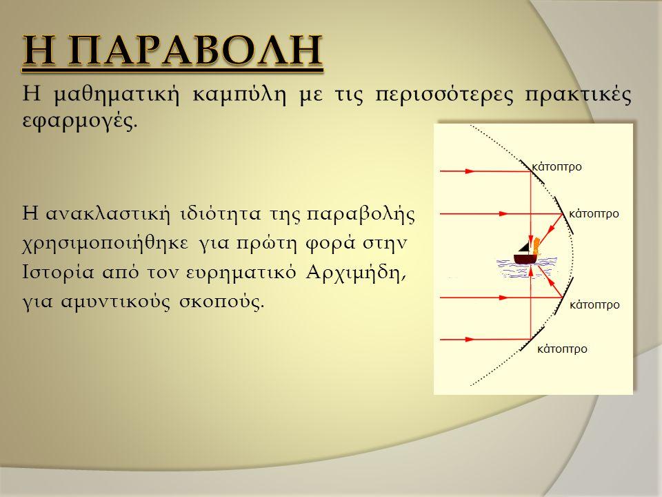 Η μαθηματική καμπύλη με τις περισσότερες πρακτικές εφαρμογές. Η ανακλαστική ιδιότητα της παραβολής χρησιμοποιήθηκε για πρώτη φορά στην Ιστορία από τον