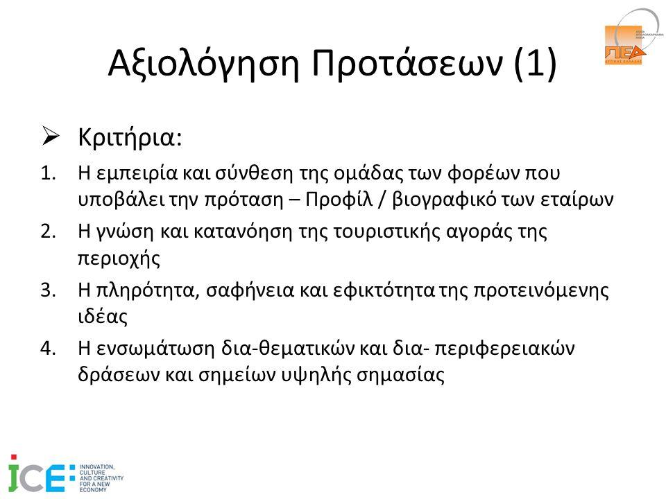 Αξιολόγηση Προτάσεων (1)  Κριτήρια: 1.Η εμπειρία και σύνθεση της ομάδας των φορέων που υποβάλει την πρόταση – Προφίλ / βιογραφικό των εταίρων 2.Η γνώση και κατανόηση της τουριστικής αγοράς της περιοχής 3.Η πληρότητα, σαφήνεια και εφικτότητα της προτεινόμενης ιδέας 4.Η ενσωμάτωση δια-θεματικών και δια- περιφερειακών δράσεων και σημείων υψηλής σημασίας