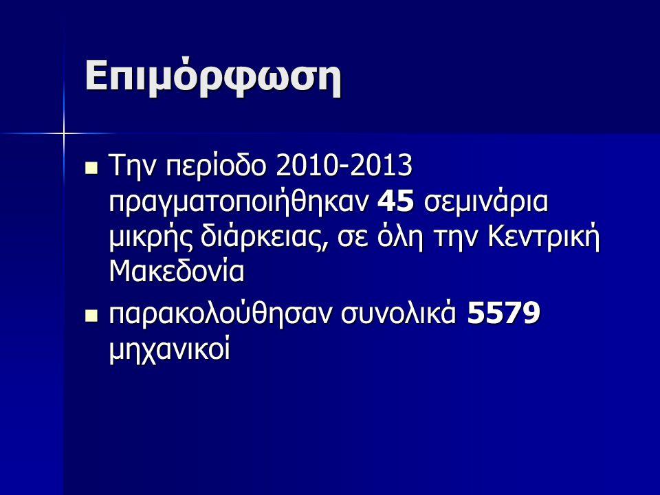 Επιμόρφωση Την περίοδο 2010-2013 πραγματοποιήθηκαν 45 σεμινάρια μικρής διάρκειας, σε όλη την Κεντρική Μακεδονία Την περίοδο 2010-2013 πραγματοποιήθηκα