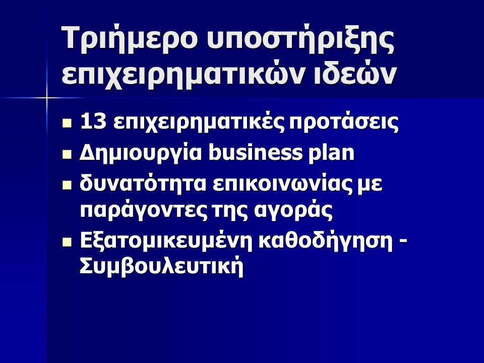 Τριήμερο υποστήριξης επιχειρηματικών ιδεών 13 επιχειρηματικές προτάσεις 13 επιχειρηματικές προτάσεις Δημιουργία business plan Δημιουργία business plan