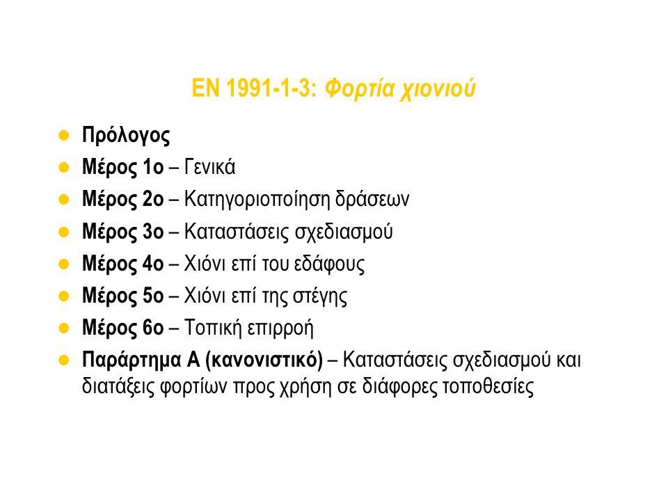 EN 1991-1-3: Φορτία χιονιού Πρόλογος Μέρος 1ο – Γενικά Μέρος 2ο – Κατηγοριοποίηση δράσεων Μέρος 3ο – Καταστάσεις σχεδιασμού Μέρος 4ο – Χιόνι επί του ε