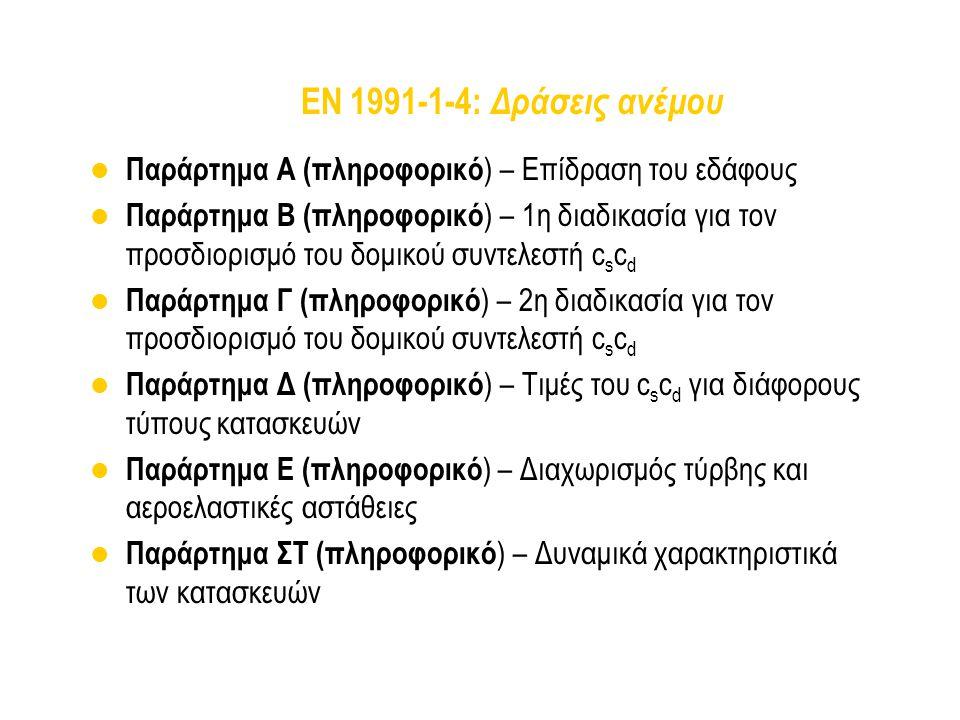 EN 1991-1-4: Δράσεις ανέμου Παράρτημα Α (πληροφορικό ) – Επίδραση του εδάφους Παράρτημα Β (πληροφορικό ) – 1η διαδικασία για τον προσδιορισμό του δομι