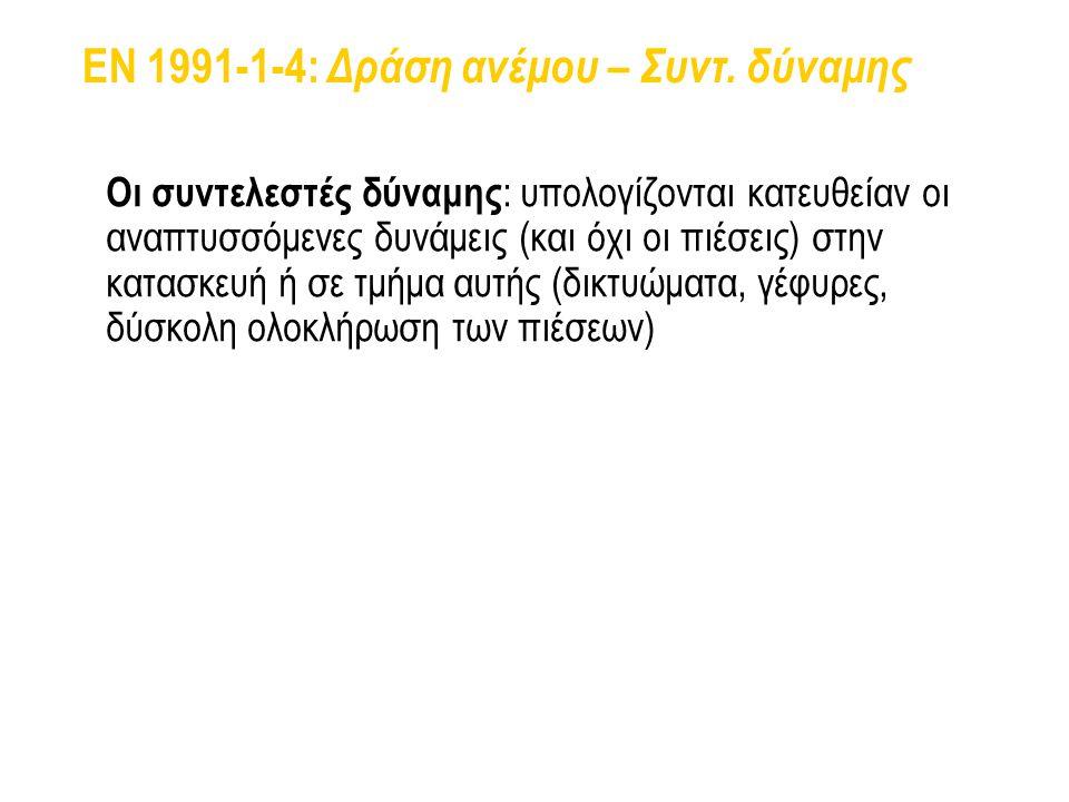 EN 1991-1-4: Δράση ανέμου – Συντ. δύναμης Οι συντελεστές δύναμης : υπολογίζονται κατευθείαν οι αναπτυσσόμενες δυνάμεις (και όχι οι πιέσεις) στην κατασ
