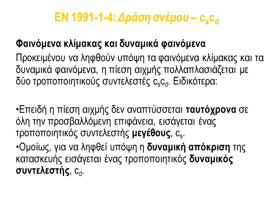 EN 1991-1-4: Δράση ανέμου – c s c d Φαινόμενα κλίμακας και δυναμικά φαινόμενα Προκειμένου να ληφθούν υπόψη τα φαινόμενα κλίμακας και τα δυναμικά φαινό