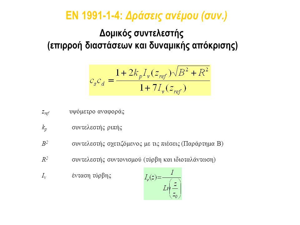 Δομικός συντελεστής (επιρροή διαστάσεων και δυναμικής απόκρισης) z ref υψόμετρο αναφοράς k p συντελεστής ριπής I v ένταση τύρβης B 2 συντελεστής σχετι