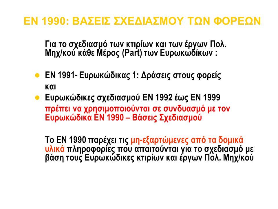 EN 1990: ΒΑΣΕΙΣ ΣΧΕΔΙΑΣΜΟΥ ΤΩΝ ΦΟΡΕΩΝ Για το σχεδιασμό των κτιρίων και των έργων Πολ. Μηχ/κού κάθε Μέρος (Part) των Ευρωκωδίκων : EN 1991- Ευρωκώδικας