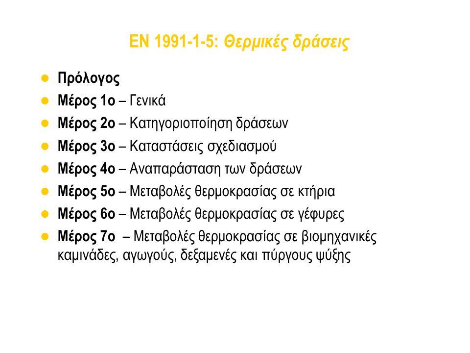EN 1991-1-5: Θερμικές δράσεις Πρόλογος Μέρος 1ο – Γενικά Μέρος 2ο – Κατηγοριοποίηση δράσεων Μέρος 3ο – Καταστάσεις σχεδιασμού Μέρος 4ο – Αναπαράσταση