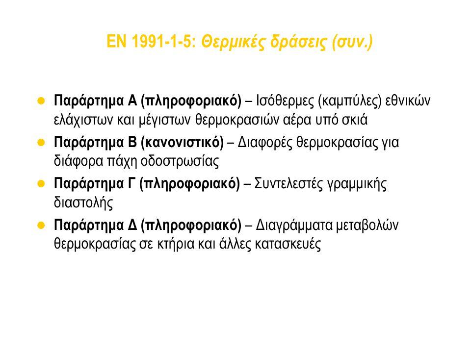 EN 1991-1-5: Θερμικές δράσεις (συν.) Παράρτημα Α (πληροφοριακό) – Ισόθερμες (καμπύλες) εθνικών ελάχιστων και μέγιστων θερμοκρασιών αέρα υπό σκιά Παράρ
