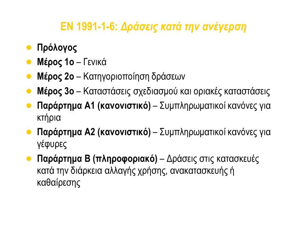 EN 1991-1-6: Δράσεις κατά την ανέγερση Πρόλογος Μέρος 1ο – Γενικά Μέρος 2ο – Κατηγοριοποίηση δράσεων Μέρος 3ο – Καταστάσεις σχεδιασμού και οριακές κατ